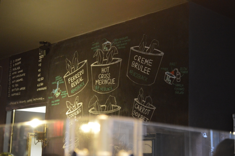 Flavours displayed on a chalkboard at N2 Extreme Gelato