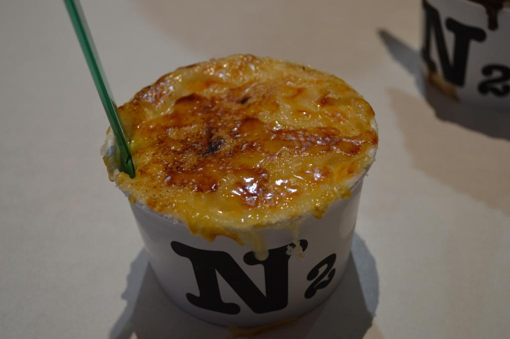 Close up of N2's Creme Brulee gelato