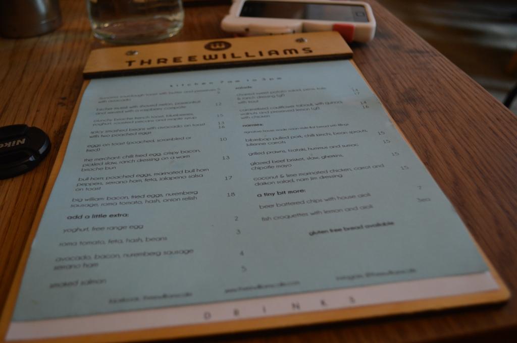 Three Williams' menu