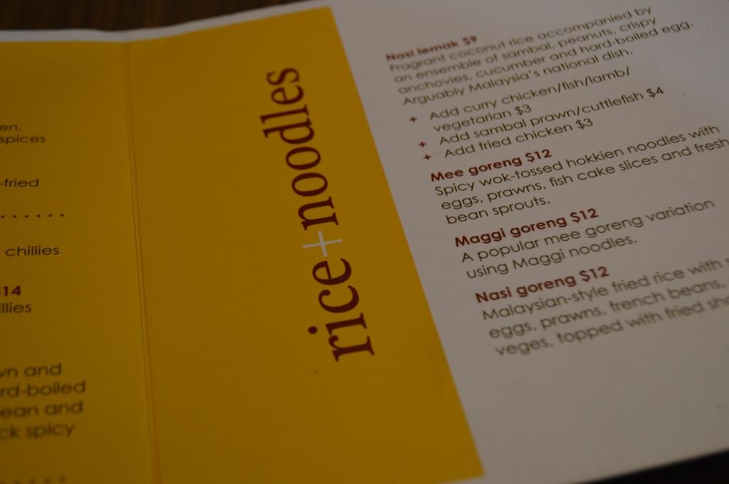 Mamak's menu