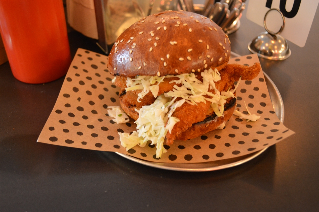 Crumbed Fish Fillet, Pickled Cucumber, Lemon Mayo, Dill ($10)