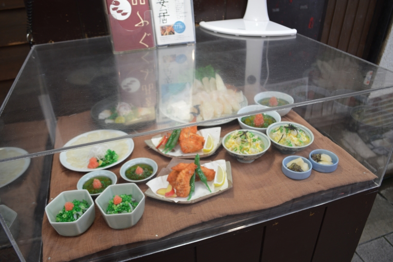 Models of food at a fugu restaurant in Asakusa