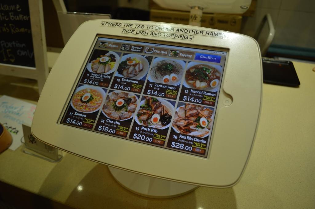 Ipad menu at Ramen Ikkyu