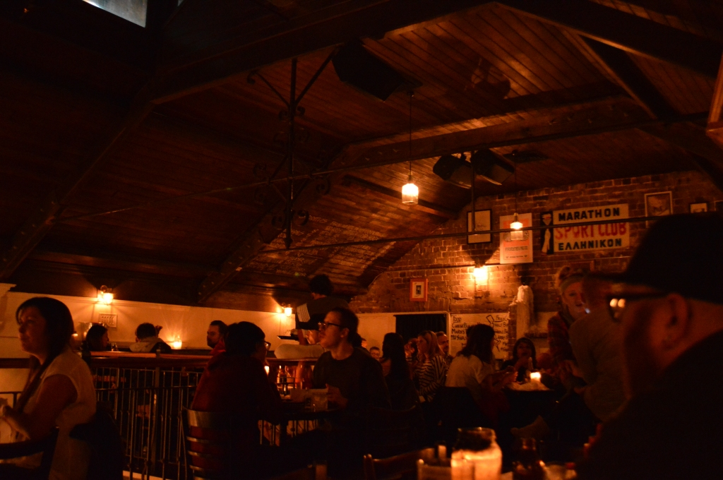 Upstairs dining area at Mary's- dark lit and intimate