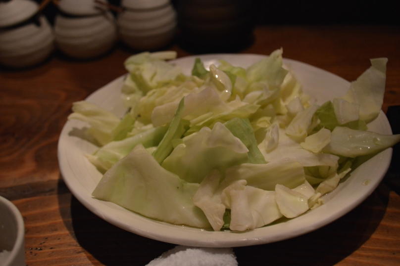 Complimentary sliced cabbage