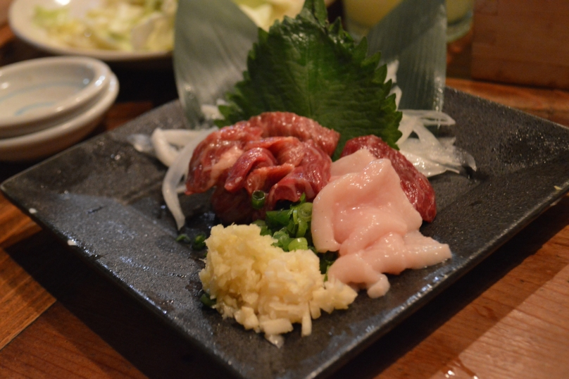 Basashi (raw horse meat) and fat