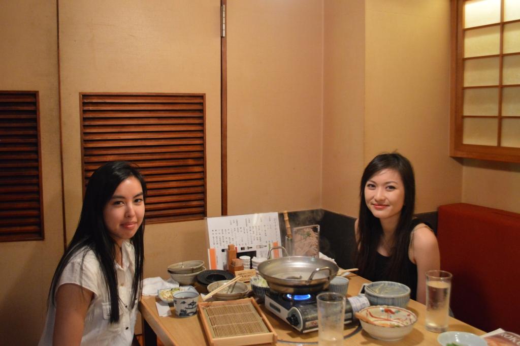 J and I having dinner at Roku-Maru