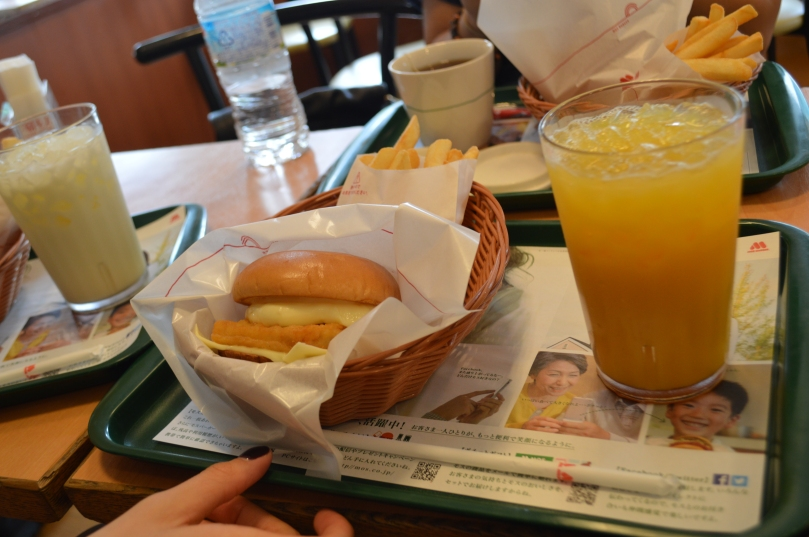 Fish Burger and Orange Juice at MOS burger