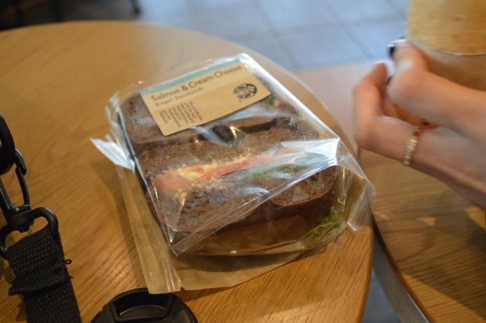 Salmon and cream cheese bagel from Starbucks