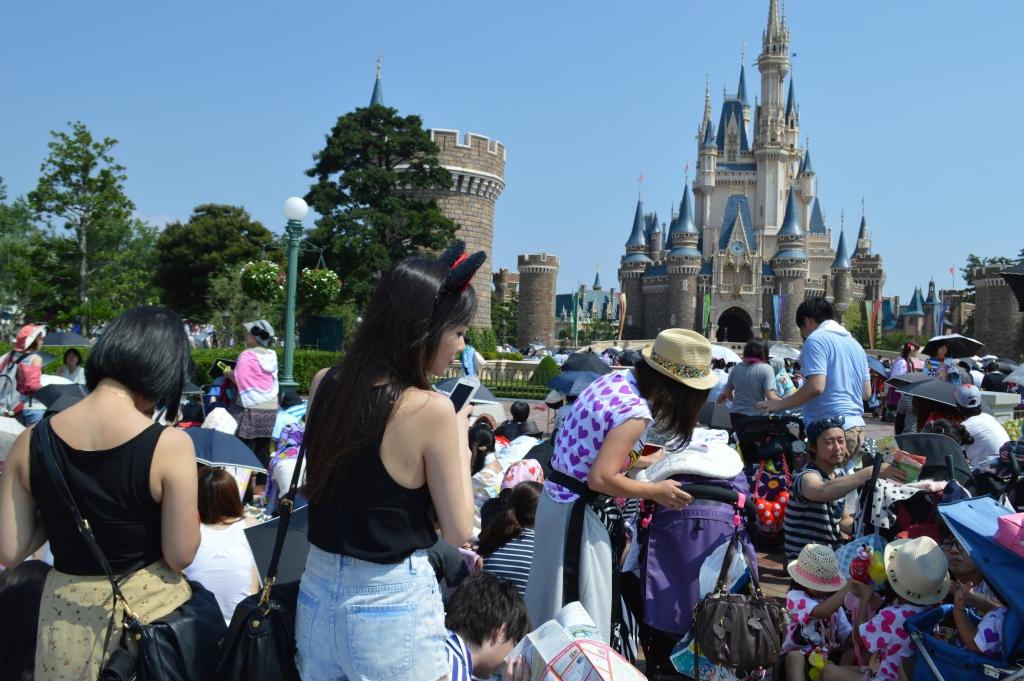 Crowds outside the Disney castle