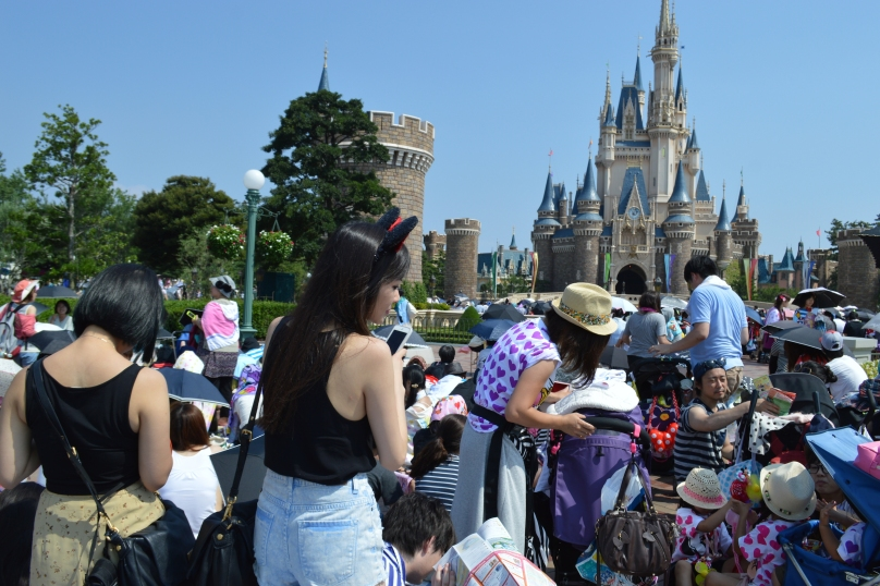 Crowds outside the Disney castle