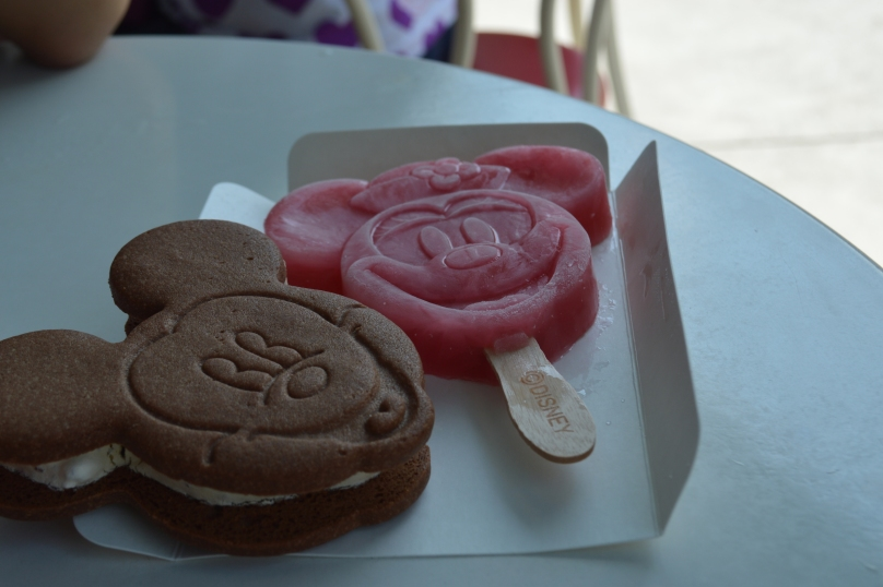 The Mickey Mouse Ice Cream sandwich and Minnie Mouse raspberry iceblock