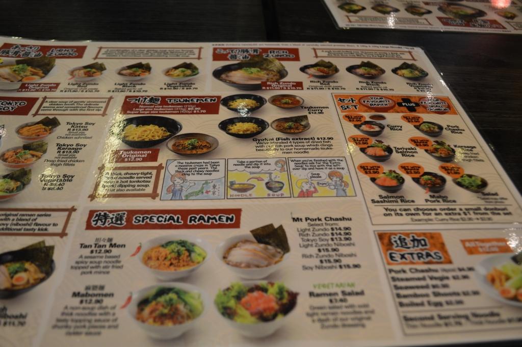 Ramen Zundo's menu
