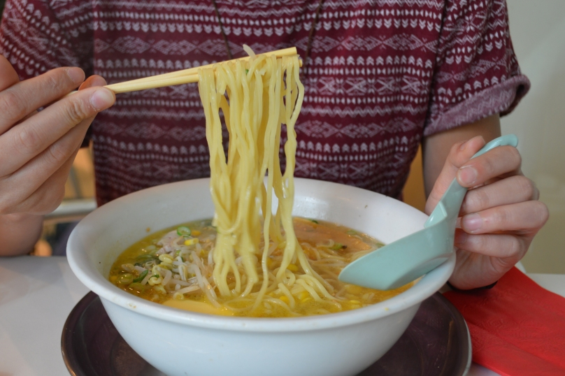 Closer look at the Shio Butter Corn Ramen noodles