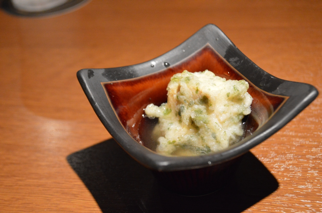 Complimentary dish of deep fried tofu- served cold