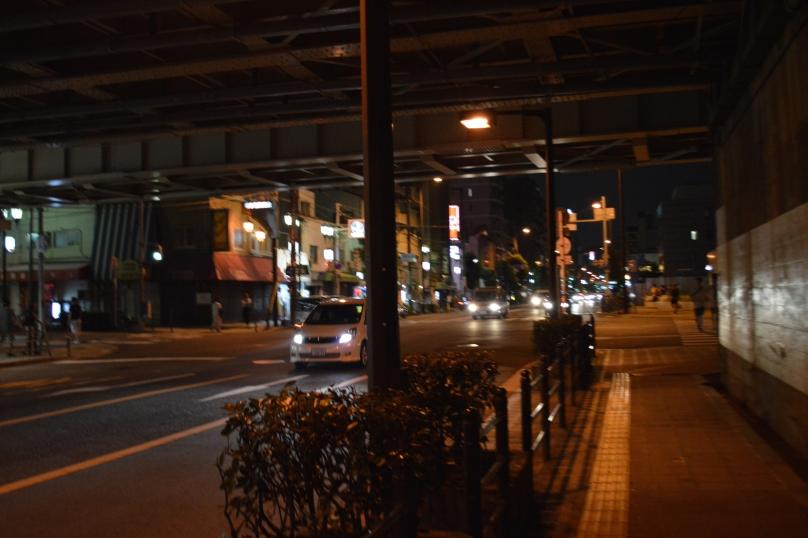Walking down the street, near Shin-imamiya station