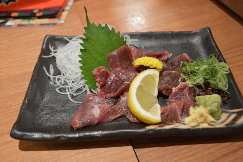 Beef sashimi- around Y500 from what I can remember