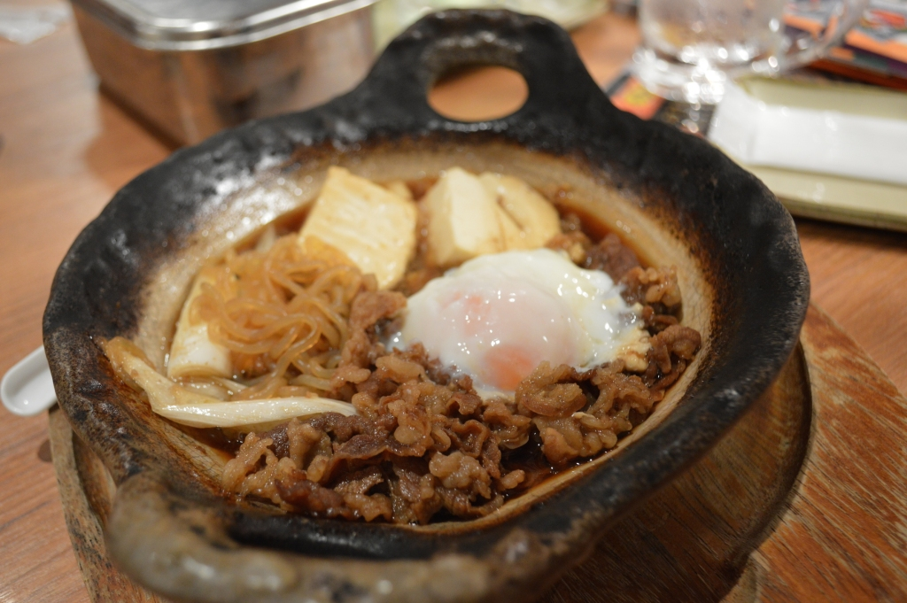 J's dish of thinly sliced beef, egg, onions and tofu in a sweet soy sauce- pretty much Sukiyaki