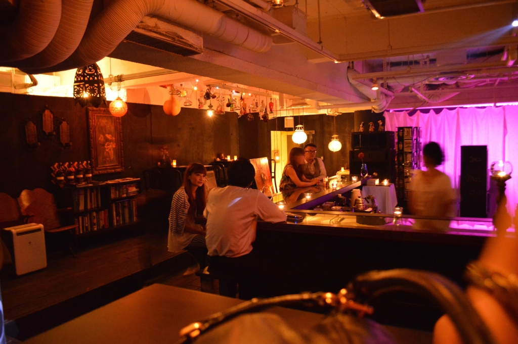 Interior of the comic bar