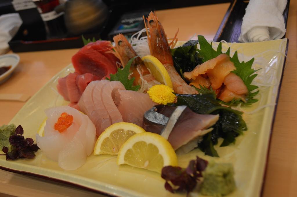 Sashimi platter (number 67 on the menu)