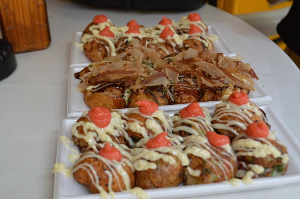 Takoyaki from a stall in downtown Shinsekai