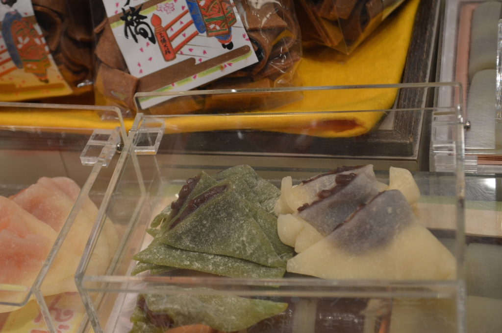 Yatsuhashi at Kyoto station- a sweet made from glutinous rice flour, with red bean filling