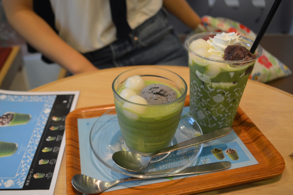 Drinks from Nana's Green Tea- matcha with dango and black sesame ice cream, and iced matcha with red bean and dango