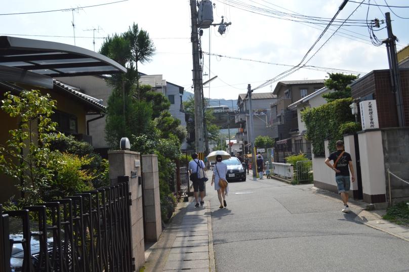 Walking from Arashiyama station to Bamboo forest