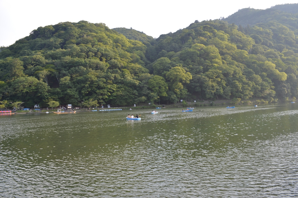 Boats were available for hire and row down Katsura River
