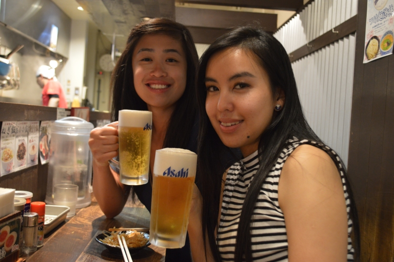 Drinking Japanese beer while waiting for our food