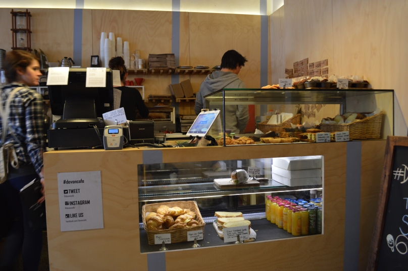 Counter of baked goods at Devon Cafe