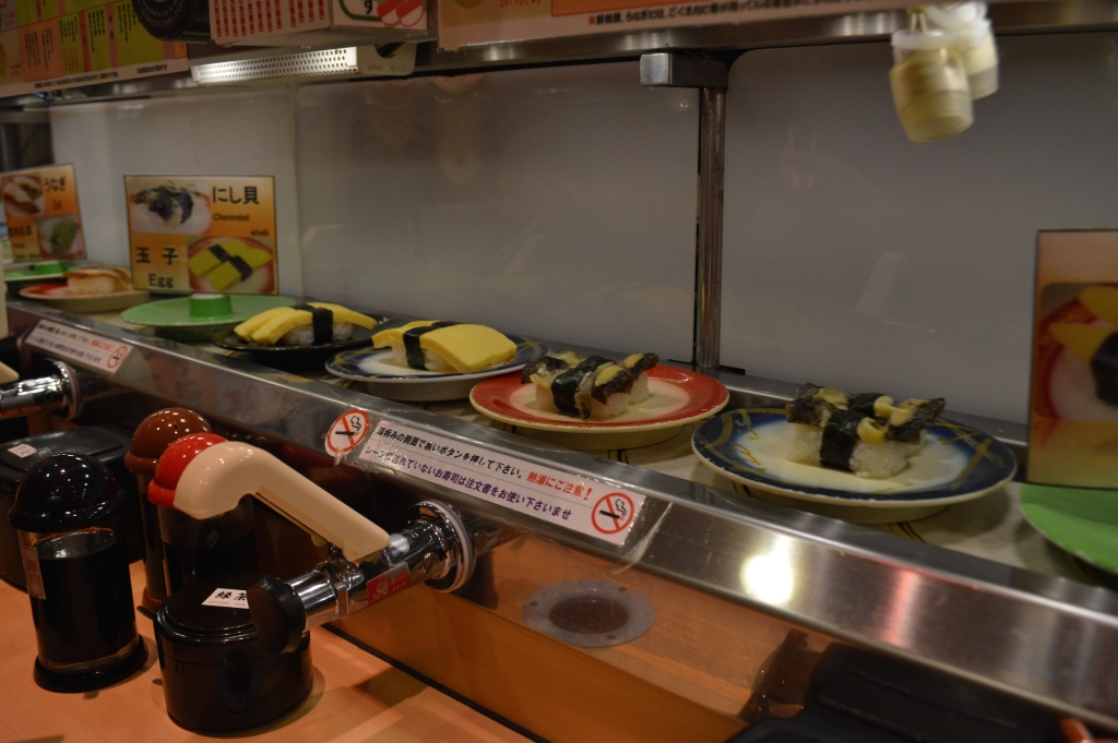 Sushi rotating on the conveyor belt