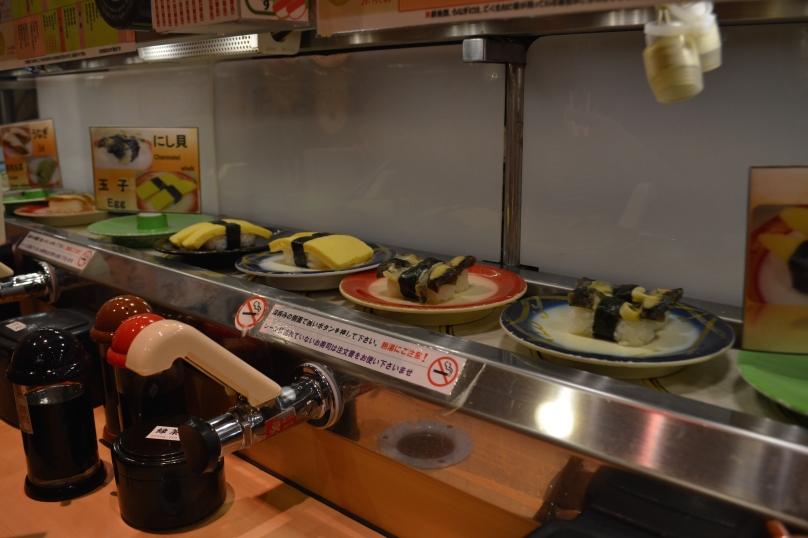 Sushi rotating on the conveyor belt