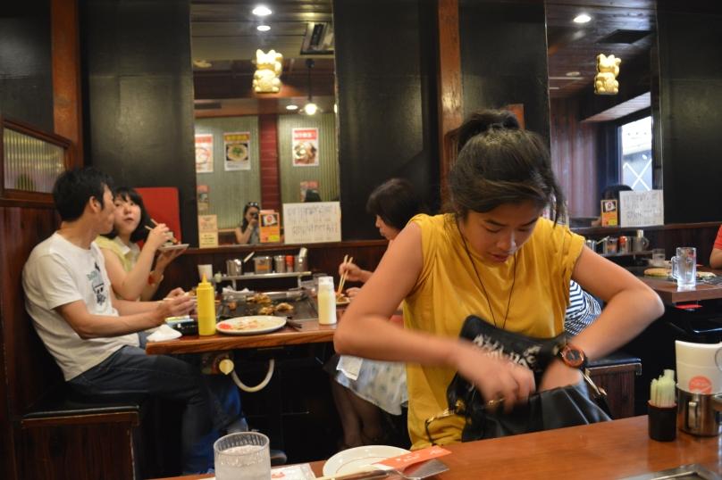 Upstairs dining at the okonomiyaki restaurant in Dotonbori