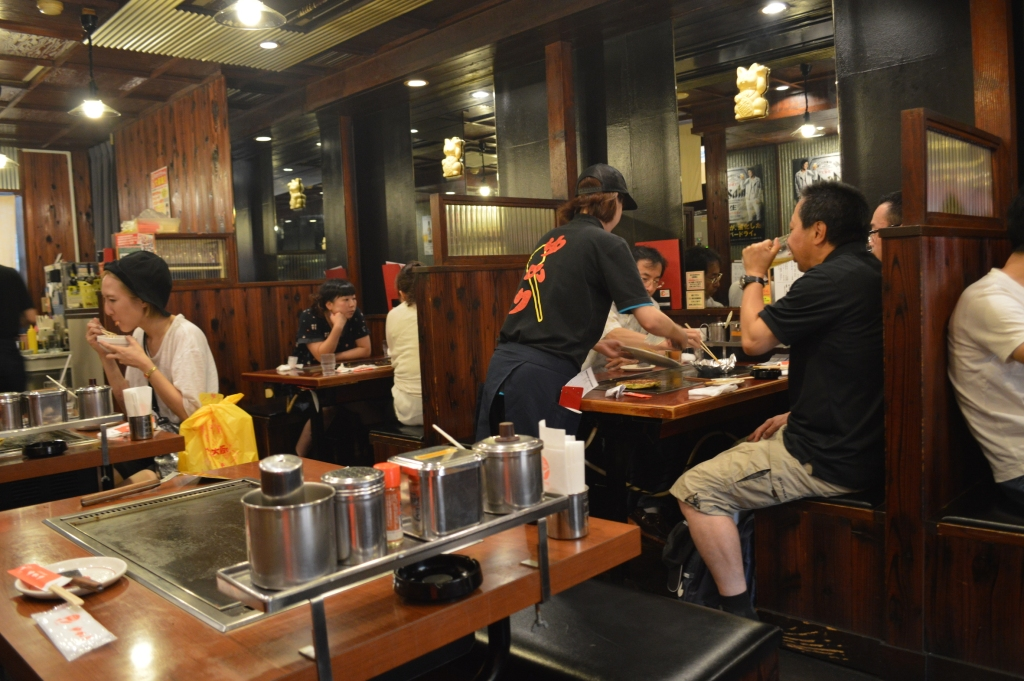 Interior of the okonomiyaki restaurant