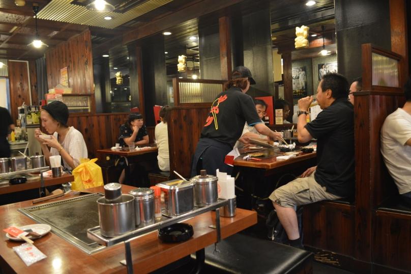 Interior of the okonomiyaki restaurant