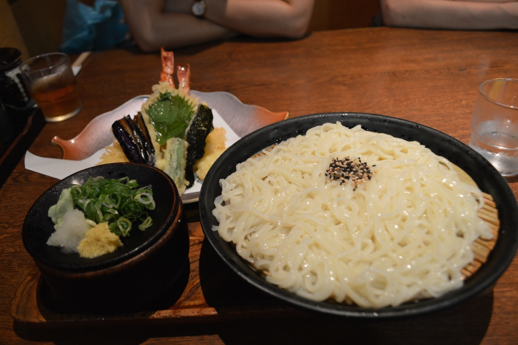 Cold udon with a side of tempura