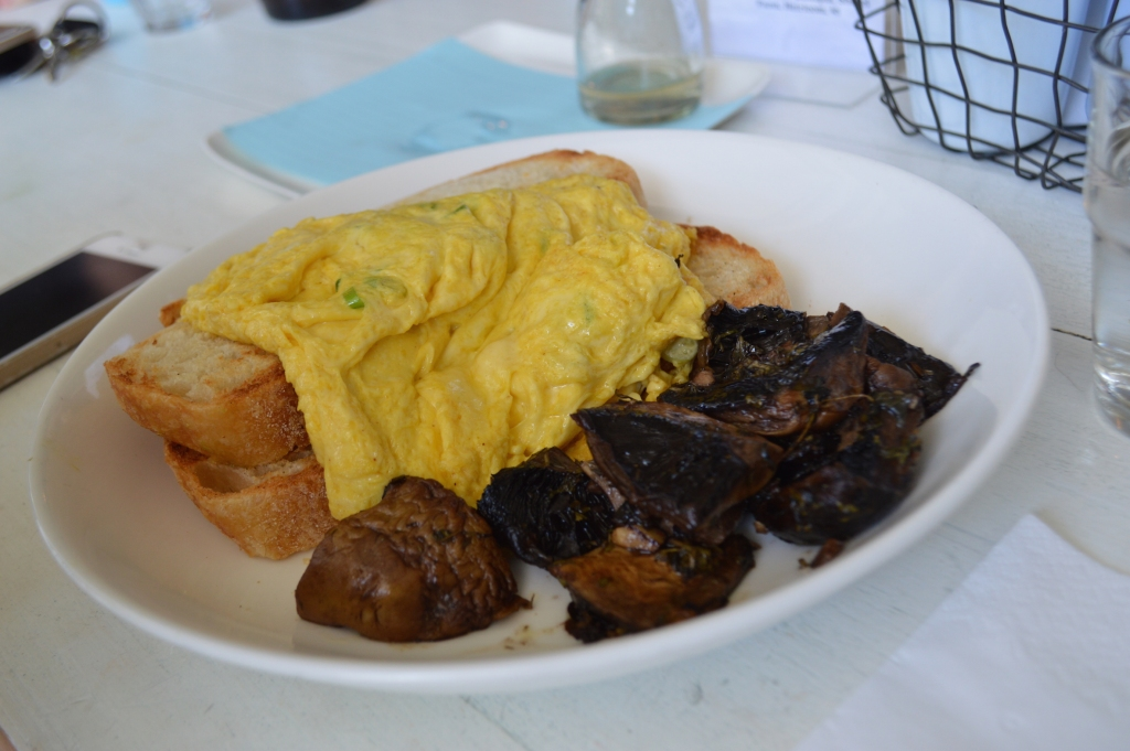Scrambled eggs with toast ($12) plus a side of mushrooms ($4)