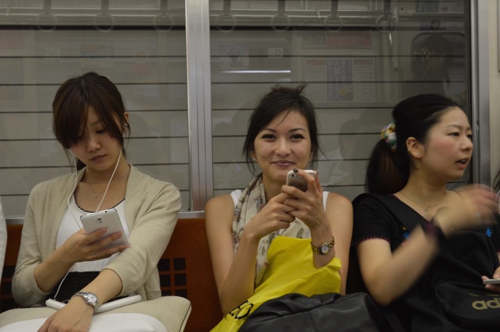 J, back on the normal subway in Tokyo