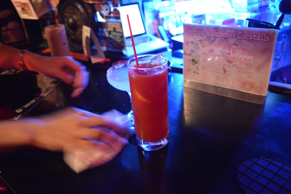 Drinks ordered at the rock bar- A had a Margarita and I had a Bloody Mary (clearly, Bloody Marys were my drink of choice in Japan)