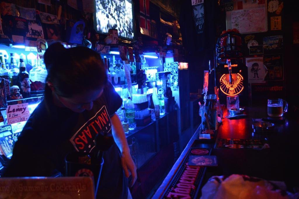 Bartender at the rock bar