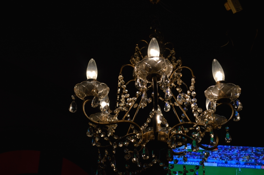 Chandelier provided a dim lit ambience