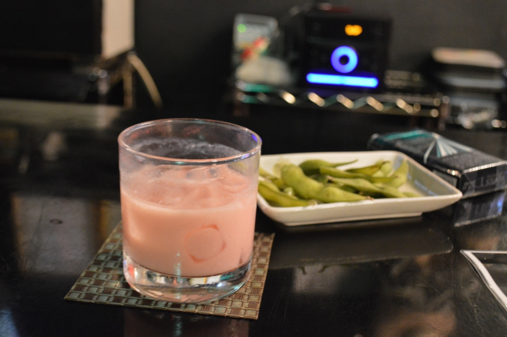 Strawberry milk cocktails and free edamame