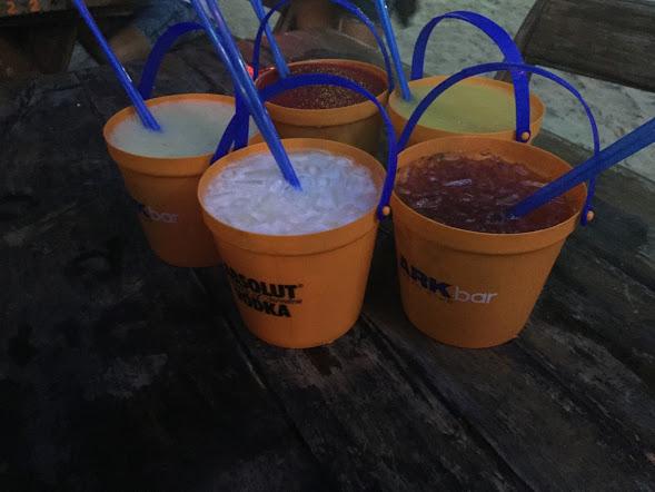 Buckets at Ark Bar, Koh Samui (L-R: Banana Daiquiri, Strawberry Daiquiri, Mango Daiquiri, Strawberry Mojito, and Pina Colada)