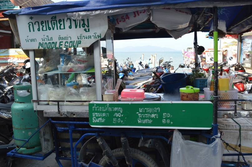 Street vendor selling noodle soups in Fisherman's Bay, Bophut, Koh Samui