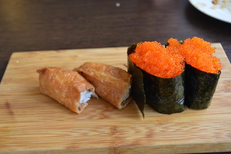 Inari and Tobiko - deep fried tofu skin and flying fish roe