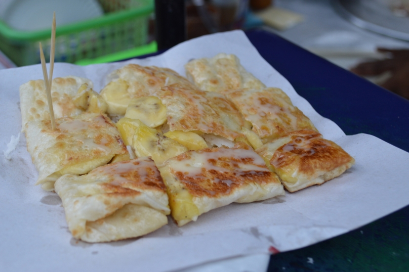 Banana pancake with sweetmilk (40 baht)