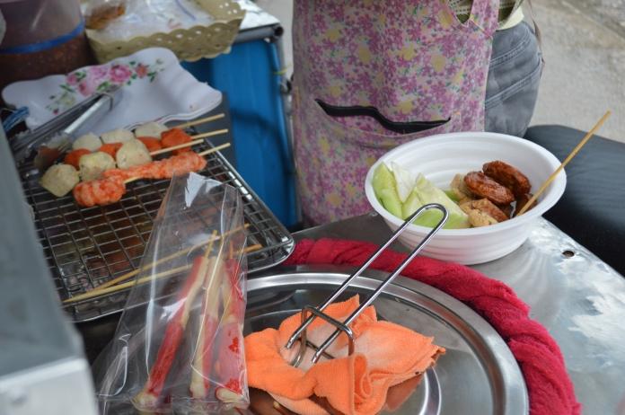 Salad + skewers being prepared