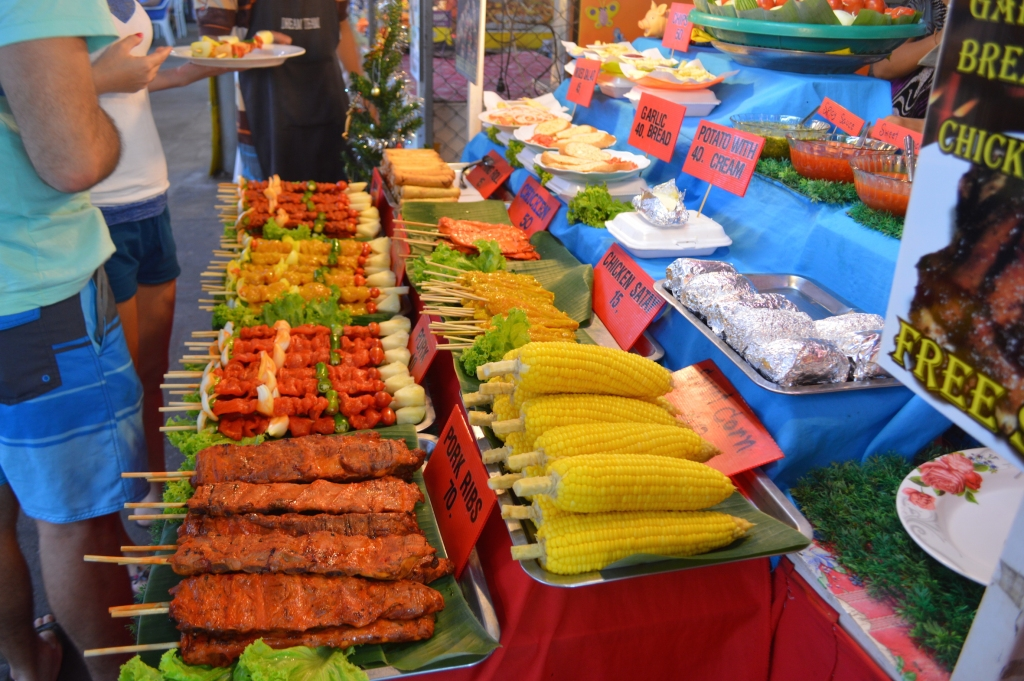 Crocodile skewers looked strangely like the chicken skewers marinated in yellow sauce on display at this stand