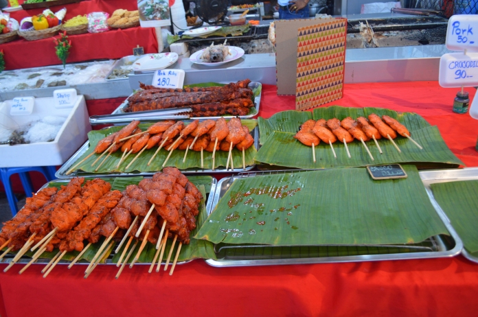 Skewers on display from the stall I bought from